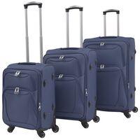 vidaXL 3 delni komplet mehkih potovalnih kovčkov mornarsko modre barve