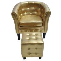 vidaXL Tubast stol s stolčkom za noge iz zlatega umetnega usnja