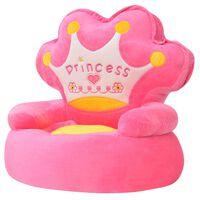 vidaLX Plišasti otroški stol Princess roza barve