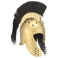 vidaXL Grška bojevniška čelada starinska kopija LARP medeninasto jeklo