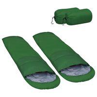 vidaXL Lahka spalna vreča 2 kosa zelena 15 °C 850 g