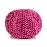 vidaXL Ročno pleteni tabure iz bombaža 50x35 cm roza