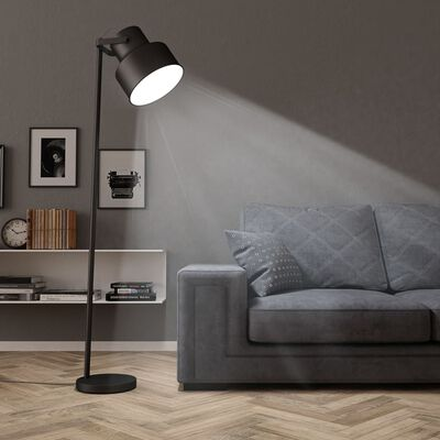 vidaXL Stoječa svetilka kovinska črna E27