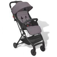 vidaXL Zložljiv otroški voziček siv 89x47,5x104 cm
