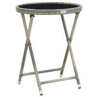 vidaXL Čajna mizica 60 cm poli ratan in kaljeno steklo