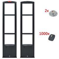 vidaXL RF Varnostni sistem + Oznake + Odstranjevalca Oznak 8,2MHz Črn