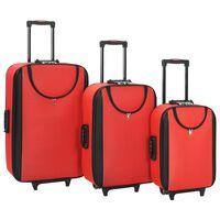 vidaXL Mehki potovalni kovčki 3 kosi rdeče oksford blago