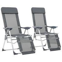 vidaXL Zložljivi stoli za kampiranje 2 kosa z naslonjalom za noge sivi