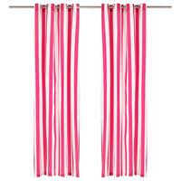 vidaXL Zavese s kovinskimi obročki 2 kosa blago 140x225 cm roza črte