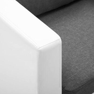 vidaXL Kavč dvosed umetno usnje bele in svetlo sive barve