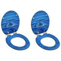 vidaXL Deska za WC školjko s pokrovom 2 kosa mediapan modra kapljica