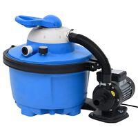 vidaXL Črpalka s peščenim filtrom modra in črna 385x620x432mm 200W 25L