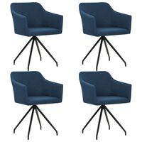 vidaXL Vrtljivi jedilni stoli 4 kosi modro blago