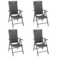 vidaXL Vrtni stoli 4 kosi poli ratan črne barve