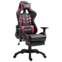 vidaXL Gaming stol z oporo za noge vinsko rdeče umetno usnje