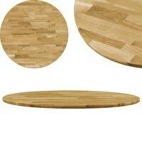 vidaXL Površina za mizo trden hrastov les okrogla 23 mm 600 mm