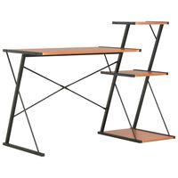 vidaXL Pisalna miza s polico črna in rjava 116x50x93 cm