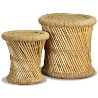 vidaXL Stolček 2 kosa bambus in juta