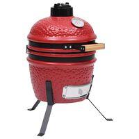 vidaXL Kamado žar za dimljenje 2 v 1 iz keramike 56 cm rdeč