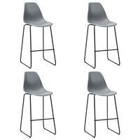 vidaXL Barski stoli 4 kosi siva plastika