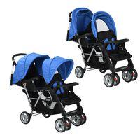 vidaXL Dvojni otroški voziček jeklen modre in črne barve