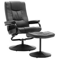 vidaXL TV fotelj s stolčkom za noge sivo umetno usnje
