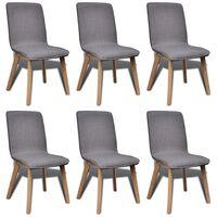 vidaXL Jedilni stoli 6 kosov svetlo sivo blago in trdna hrastovina