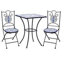 vidaXL Bistro garnitura z mozaikom 3-delna keramična modra in bela