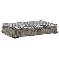 vidaXL Pasja postelja z blazino siva 95x65x15 cm naravna vrba