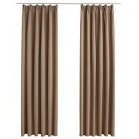 vidaXL Zatemnitvene zavese z obešali 2 kosa taupe 140x175 cm