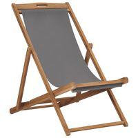 vidaXL Zložljiv stol za na plažo trdna tikovina siv