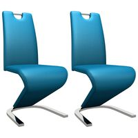 vidaXL Jedilni stoli cikcak oblike 2 kosa modro umetno usnje