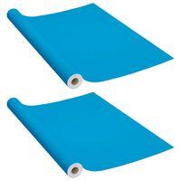 vidaXL Samolepilna folija za pohištvo 2 kosa sinje modra 500x90 cm PVC
