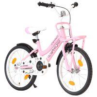 """vidaXL Otroško kolo s prednjim prtljažnikom 18"""" roza in črno"""