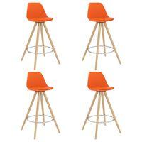 vidaXL Barski stolčki 4 kosi oranžni PP in trdna bukovina