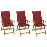vidaXL Zložljivi vrtni stoli 3 kosi z blazinami trden akacijev les