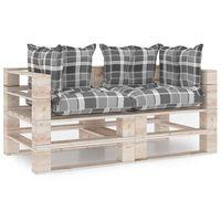 vidaXL Vrtni kavč dvosed iz palet z blazinami borovina
