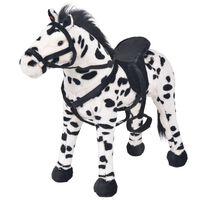 vidaXL Stoječi plišasti konj črne in bele barve XXL