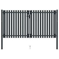 vidaXL Dvojna vrata za ograjo iz jekla 306x220 cm antracitna