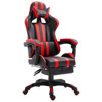 vidaXL Gaming stol z oporo za noge rdeče umetno usnje