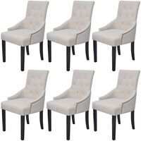 vidaXL Jedilni stoli 6 kosov kremno sivo blago