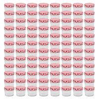 vidaXL Stekleni kozarci z belimi in rdečimi pokrovi 96 kosov 110 ml