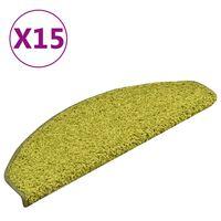 vidaXL Preproge za stopnice 15 kosov zelene 65x21x4 cm