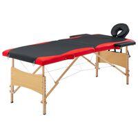 vidaXL Zložljiva masažna miza 2-conska les črna in rdeča