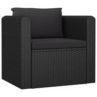 vidaXL Kavč enosed z blazinami poli ratan črne barve