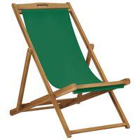 vidaXL Zložljiv stol za na plažo trdna tikovina zelen