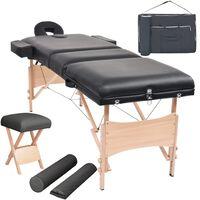 vidaXL Komplet 3-conske zložljive masažne mize in stolčka črne barve