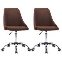 vidaXL Pisarniški stoli s kolesci 2 kosa blago rjave barve