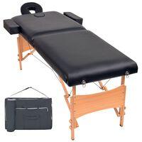 vidaXL 2-conska zložljiva masažna miza debelina 10 cm črna