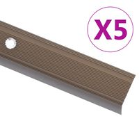vidaXL Obrobe za stopnice L-oblike 5 kosov aluminij 134 cm rjave